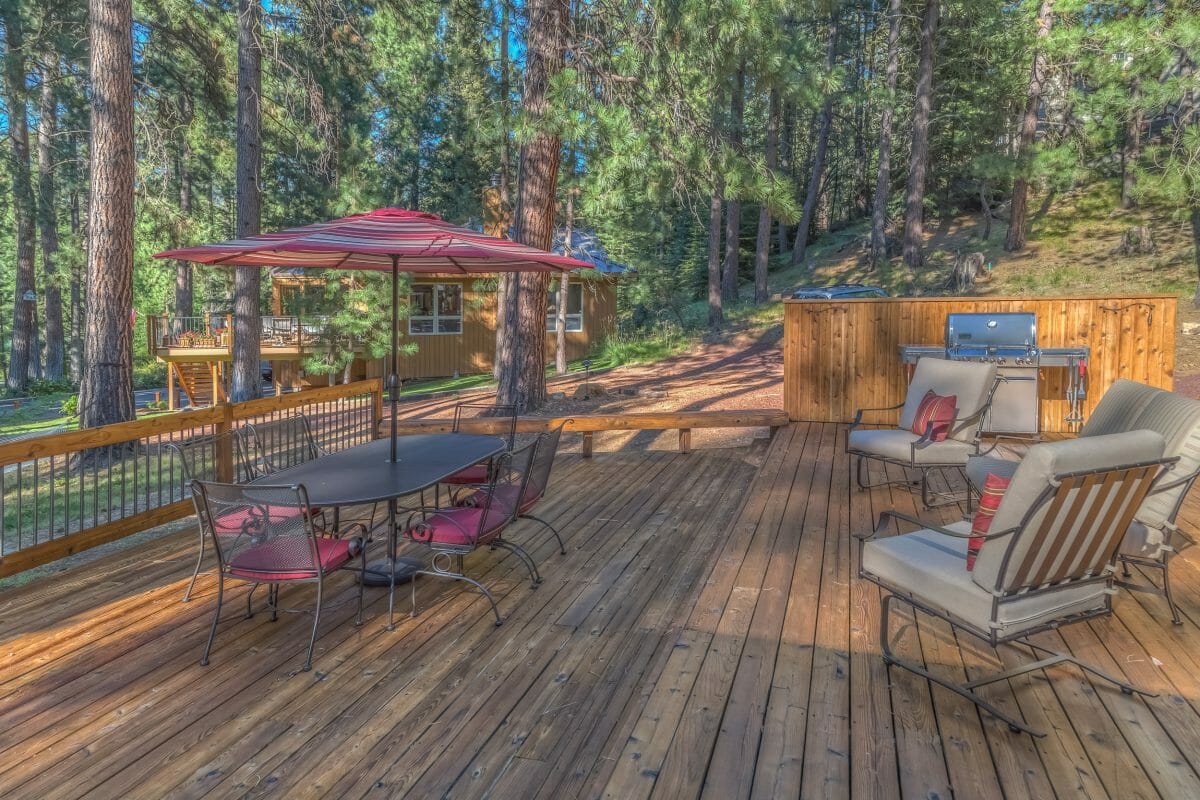 Image depicting a barbeque and outdoor area on one of the rental property decks, Black Butte Ranch, Oregon, USA