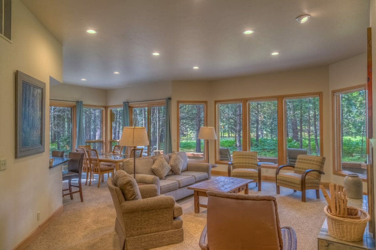 Inside a rental home living space at the Black Butte Ranch, Oregon, USA