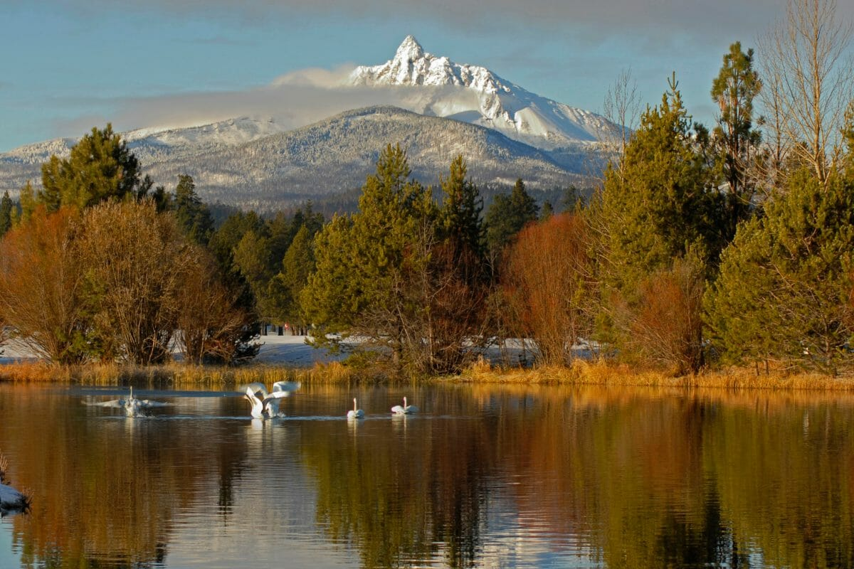 Image of Mt Washington from across a lake at Black Butte Ranch, Oregon, USA