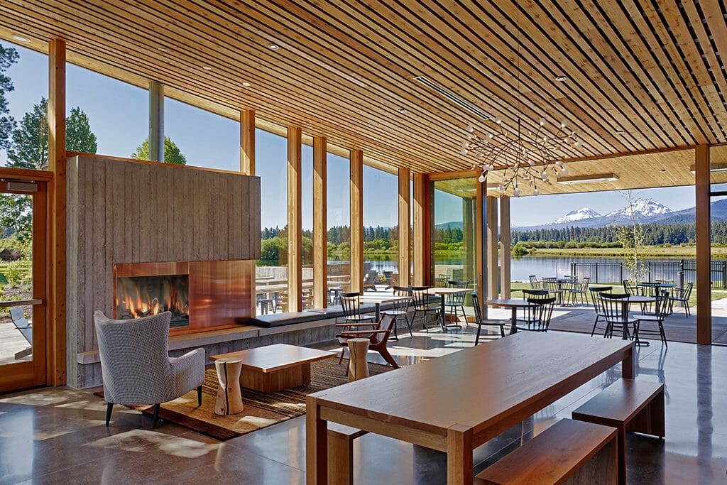 Image of the fireplace in the lodge at Black Butte Ranch, Oregon, USA