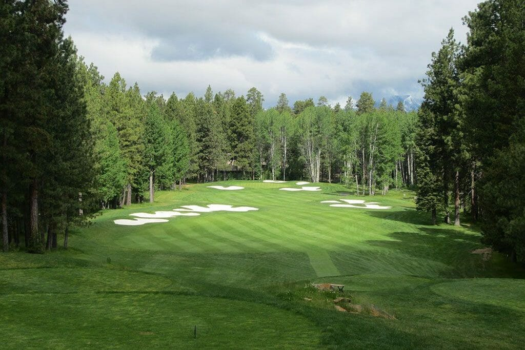 Aerial image of the 14th hole on the Big Meadow Golf Course, Black Butte Ranch, Oregon, USA