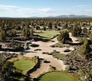 Aerial image of the 4th hole at the Pronghorn Resort, Bend, Oregon, USA