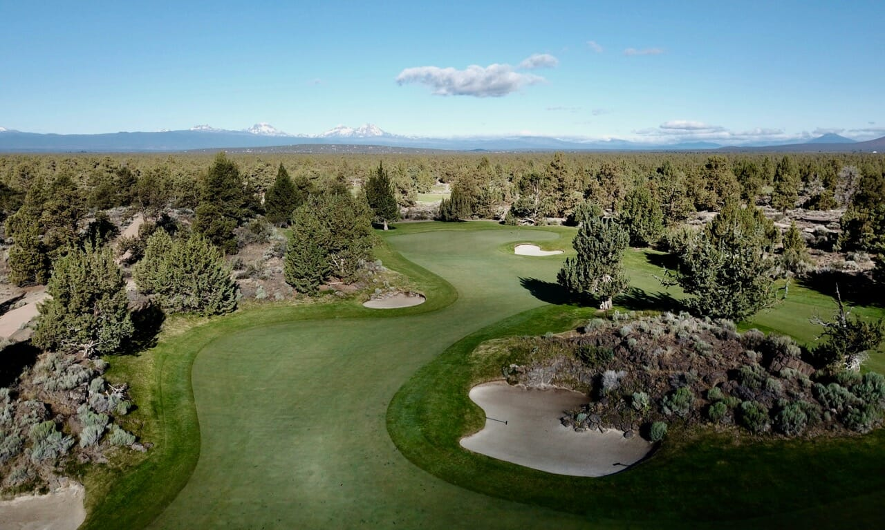 Aerial image of the 15th fairway on Jack Nicklaus designed Signature Course at Pronghorn Resort, Bend, Oregon, USA
