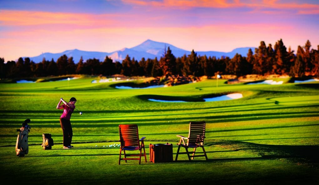 Image of the driving range at the Pronghorn Resort, Bend, Oregon, USA