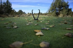 Image of the tee box markers at Pronghorn Resort, Bend, Oregon, USA