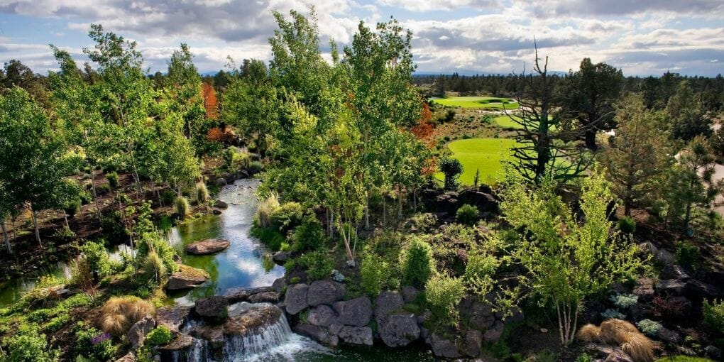 Overlooking a creek on the 4th hole of the Jack Nicklaus designed Signature Course at Pronghorn Resort, Bend, Oregon, USA