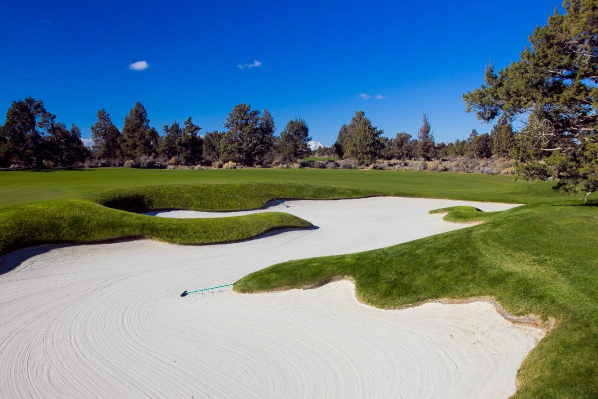 Image of a large fairway bunker on the Jack Nicklaus designed Signature Golf Course at Pronghorn Golf Resort, Bend, Oregon, USA