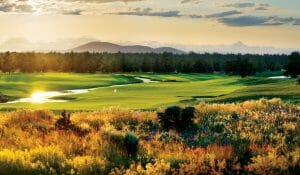 Image depicting the 6th hole and surrounding landscape behind the Tom Fazio designed Golf Course at Pronghorn Golf Resort, Bend, Oregon, USA