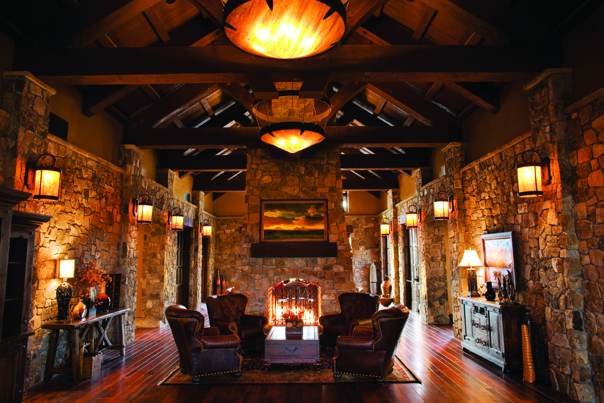 Image depicting the inside of the high ceiling roof of the entrance at Pronghorn Golf Resort, Bend, Oregon, USA