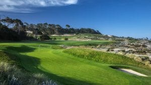 Image of a famous uphill lie on the Robert Trent Jones Designed Spyglass Hill Golf Course