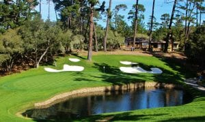 Image of the 15th par-3 at Spyglass Hill Golf Course