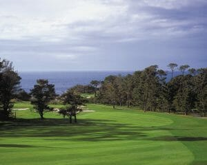 Image of Spyglass Hill fairways and distant Pacific Ocean at Pebble Beach USA