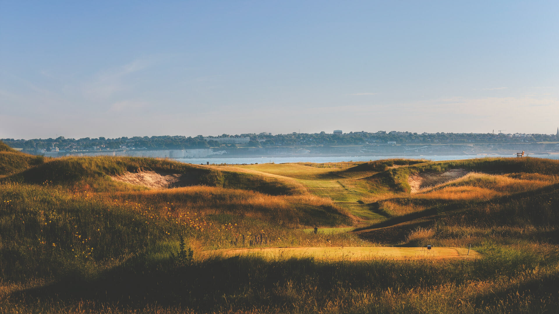 Image from the 7th tee looking out to Pegwell Bay at Royal St. George's Golf Course, Kent, England