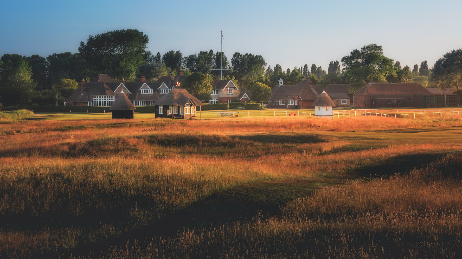 Image looking at the 18th hole and club buildings at Royal St. George's Golf Course, Kent, England