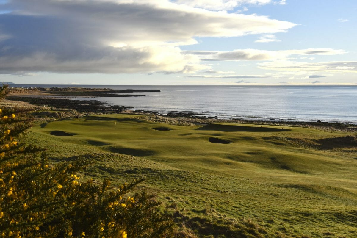 Image overlooking the Dornoch Firth from the par-4 8th hole at Royal Dornoch Golf Club, Scotland