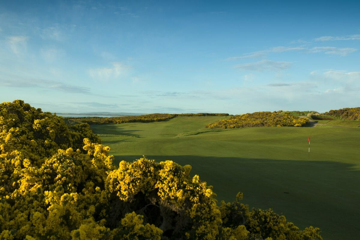 Image displaying the view from the back of the green on the par-4 17th hole at Royal Dornoch Golf Club, Scotland