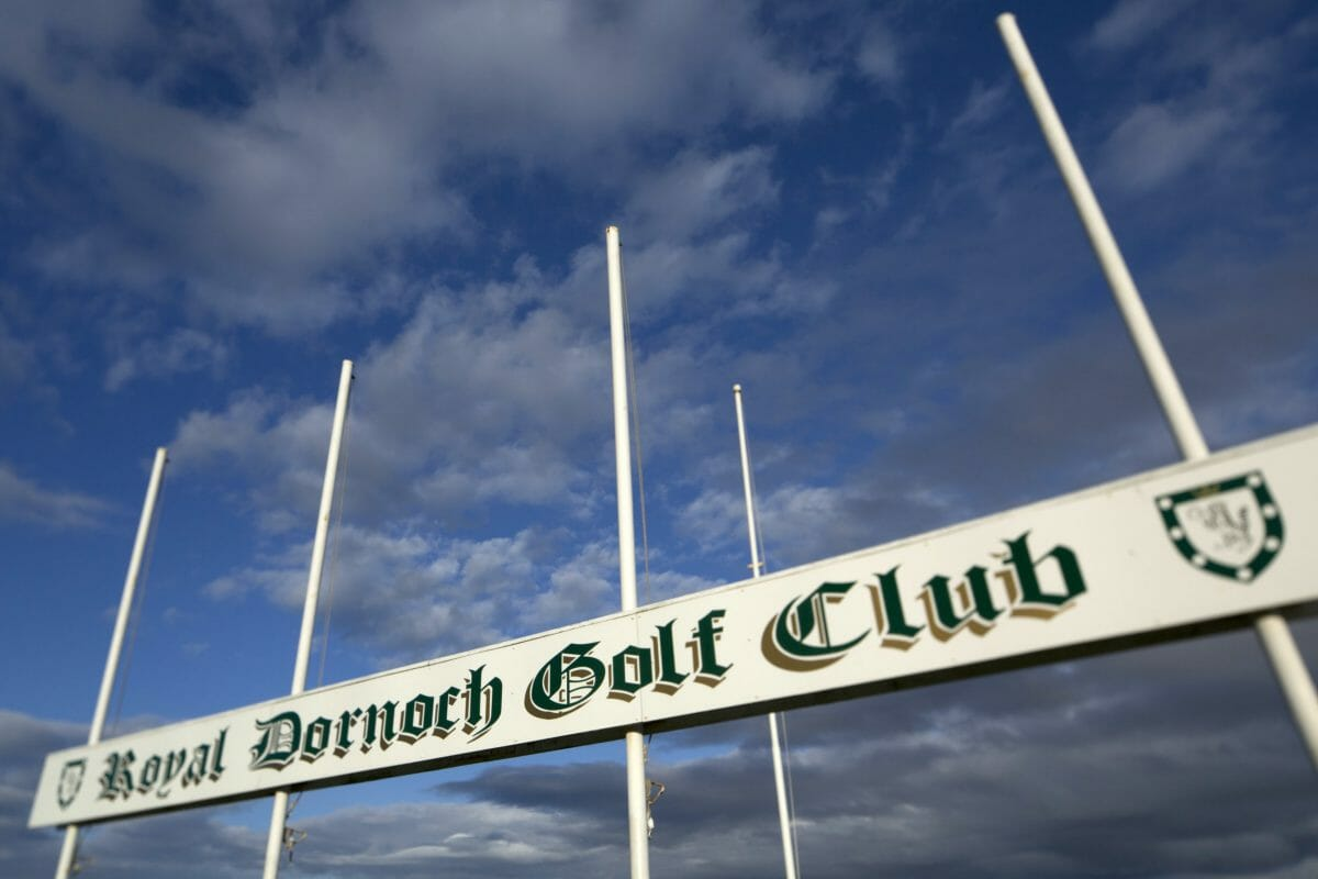 Image of the 1st tee flag pole of the Championship course at Royal Dornoch Golf Club, Scotland
