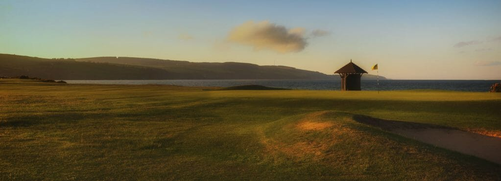 Image of a weather shelter on the golf course at Fortrose and Rosemarkie golf Links, Inverness, Scotland