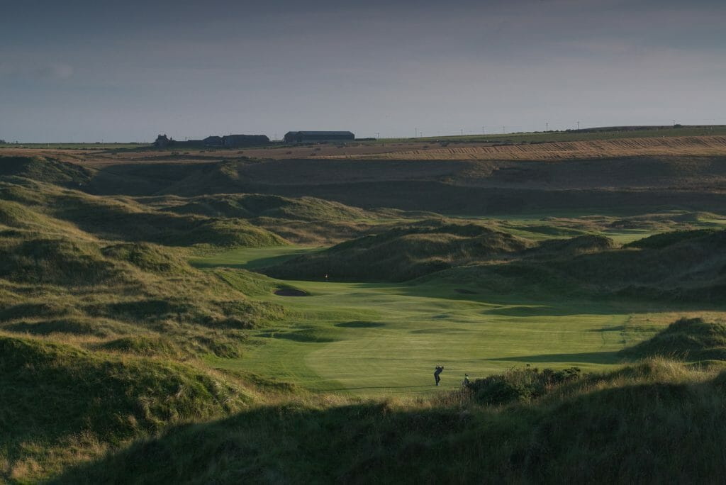 Image of a golfer on the 5th hole of the Cruden Bay Championship Links Golf Course, Aberdeenshire, Scotland