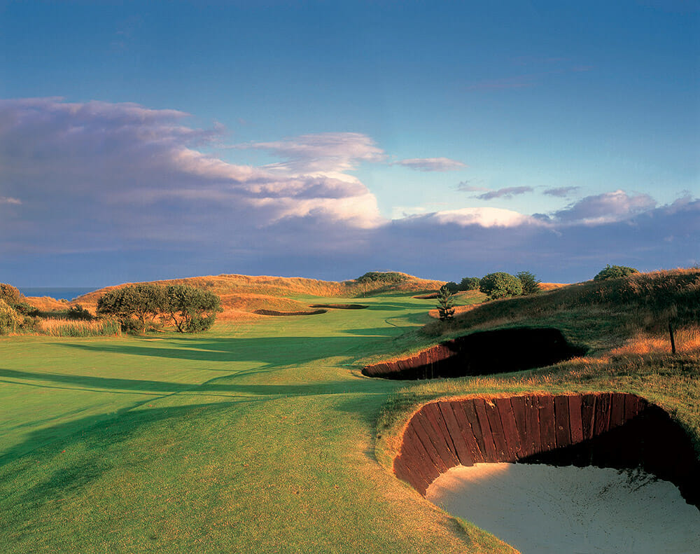 Image depicting a fairway lined with pot bunkers at The European Golf Club, Ireland