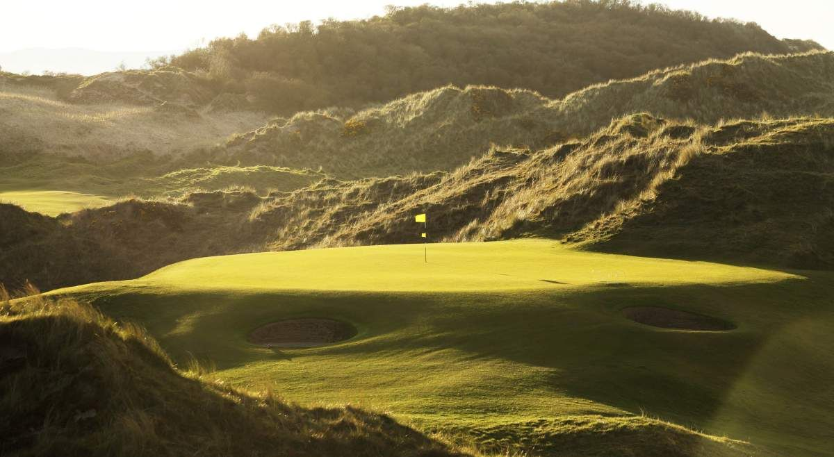 Image displaying an elevated green on the Riverside course at Portstewart Golf Club in County Antrim, Northern ireland