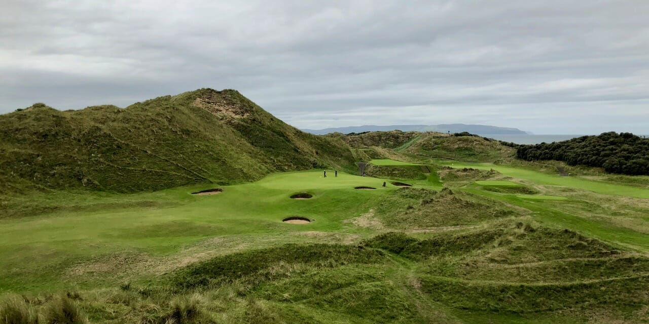 Image of the 9th green on the Strand Golf Course at Portsteward Golf Club, Northern Ireland
