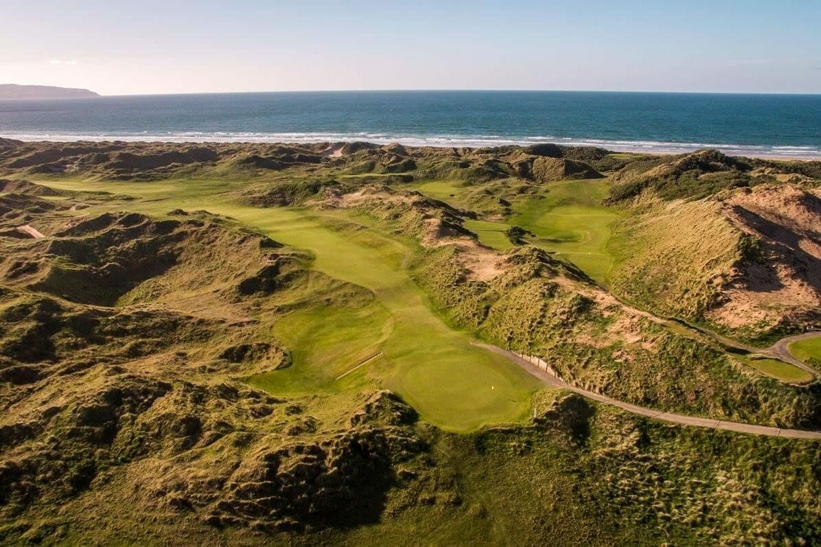 Aerial image of the wild dunes on the Strand Course at Portstewart golf club, northern ireland