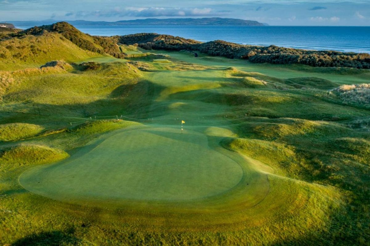 Aerial image of a green at the Strand Course at Portstewart Golf Club, Northern Ireland