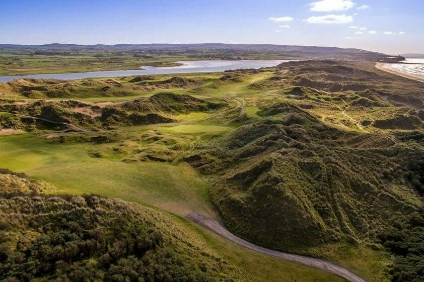 Image displaying the wild dunes of the Strand Course at Portstewqart Golf Club, Northern Ireland