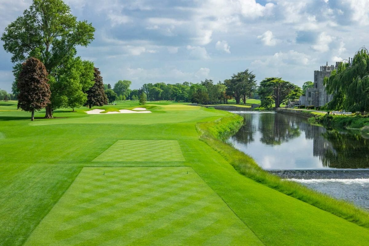 Image of the tee boxes looking down the 15th fairway at Adare Manor, County Limerick, Ireland, Europe