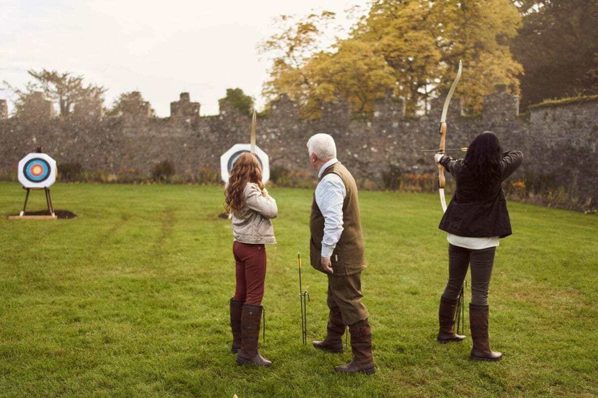 Image depicting an archery instruction class at Adare Manor, County Limerick, Ireland, Europe
