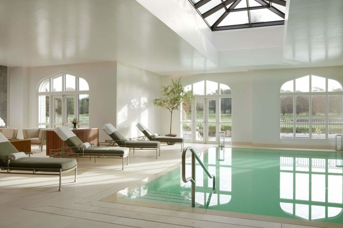 Image of the indoor pool and views of the park at Adare Manor, County Limerick, Ireland, Europe