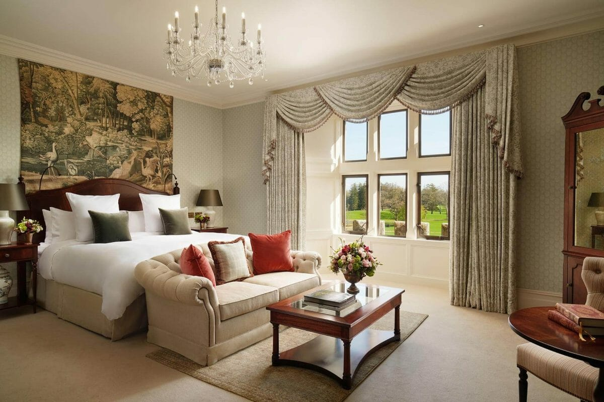 Image depicting the inside of a spacious bedroom at Adare Manor, County Limerick, Ireland, Europe