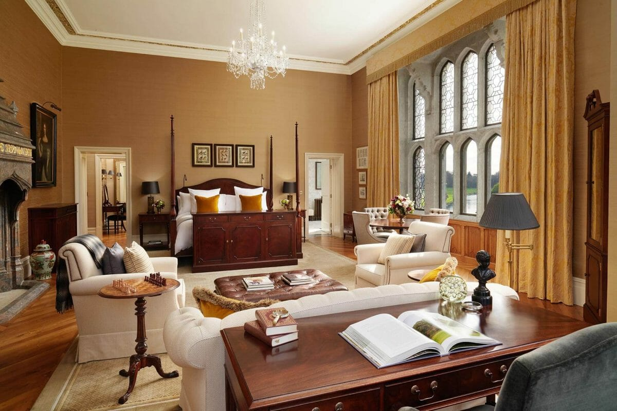 Image depicting the inside of a dunraven four-poster bed bedroom at Adare Manor, County Limerick, Ireland, Europe