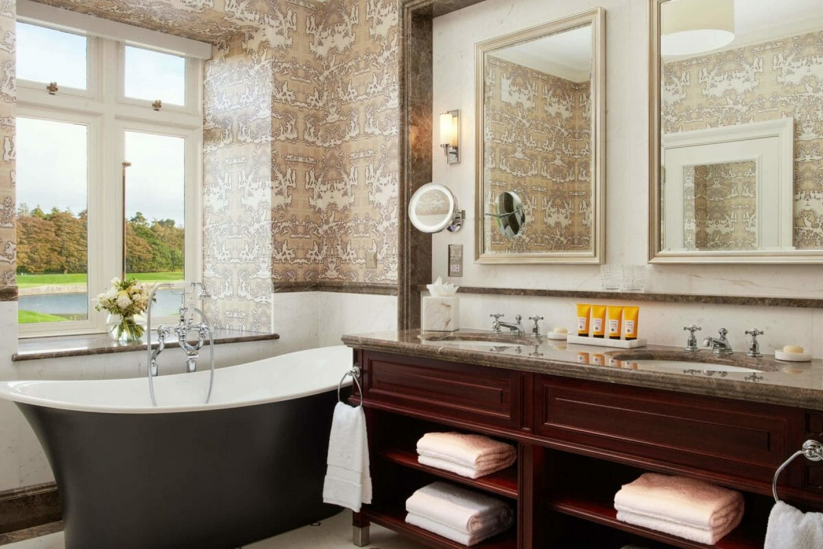 Image of a free-standing bath in a deluxe bathroom at Adare Manor, County Limerick, Ireland, Europe