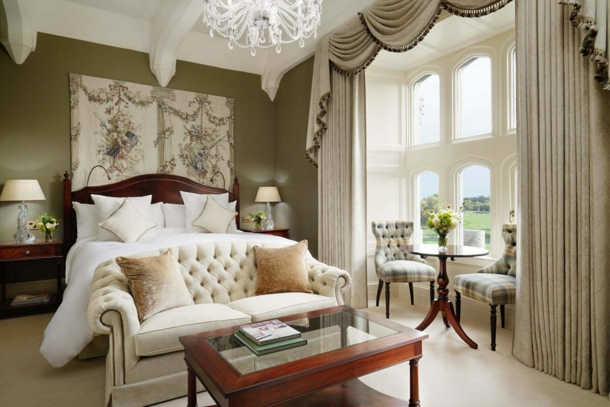 Image of the old style adorned Deluxe Room at Adare Manor, County Limerick, Ireland, Europe