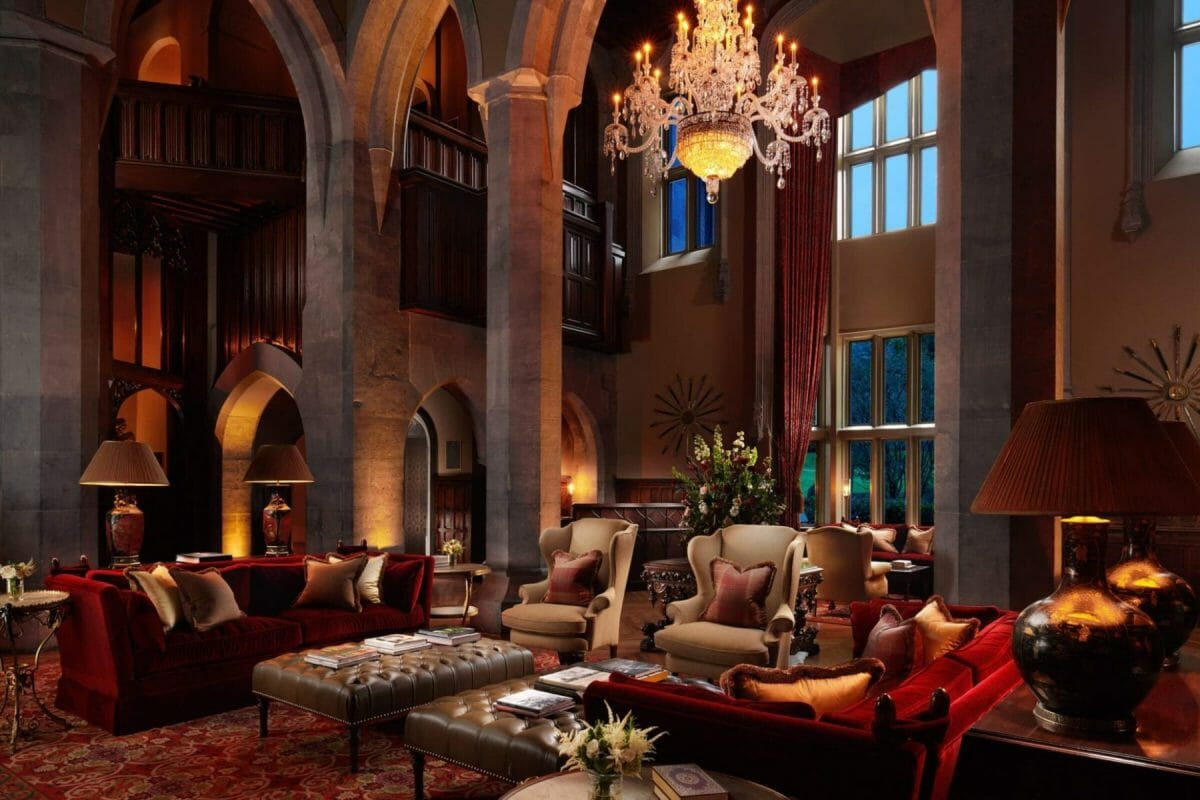 Interior image of the old fashioned lobby at Adare Manor, County Limerick, Ireland, Europe
