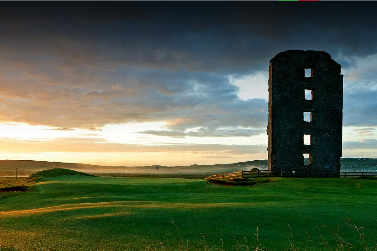 Image displaying the Castle at sunset over Castle Golf Course at Lahinch Golf Club, County Clare, Ireland