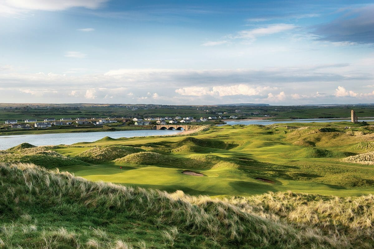 Landscape view of the town of Lahinch and the 10th hole of the Castle Golf Course at Lahinch Golf Club, County Clare, Ireland