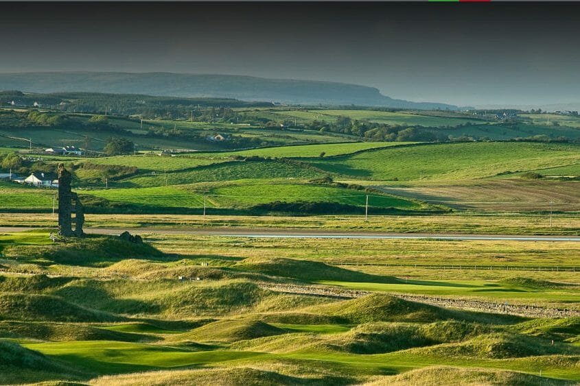 Image displaying the undulating hills of the Castle Golf Course at Lahinch Golf Club, County Clare, Ireland