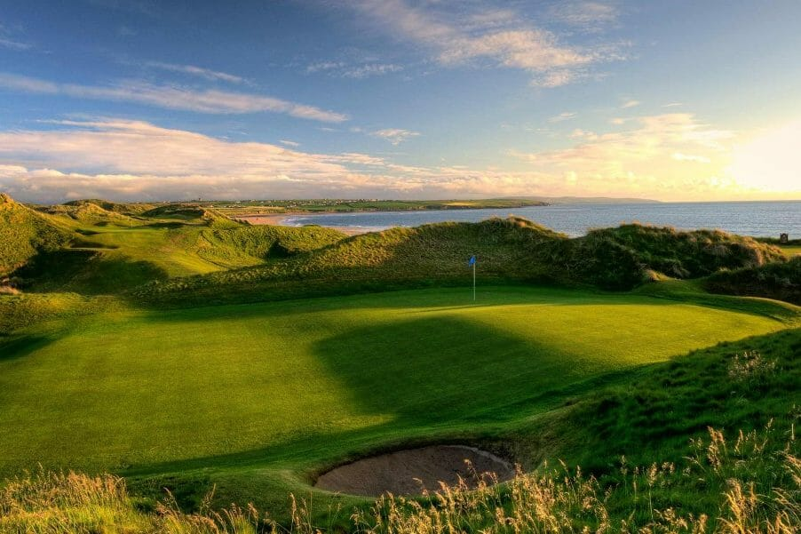 Image overlooking the multi-tiered 13th green on the Old Golf Course at Ballybunion, County Kerry, Ireland
