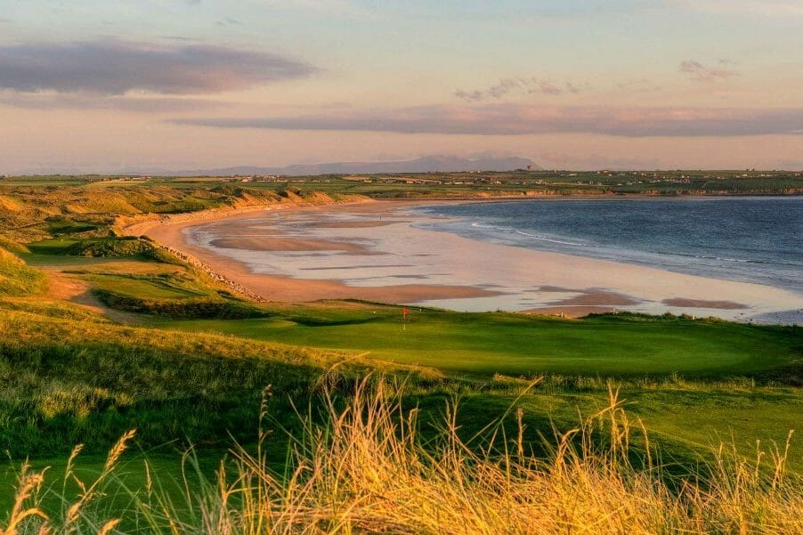 Image depicting the 10th and 11th holes and nearby beach on the Old Golf Course at Ballybunion, County Kerry, Ireland