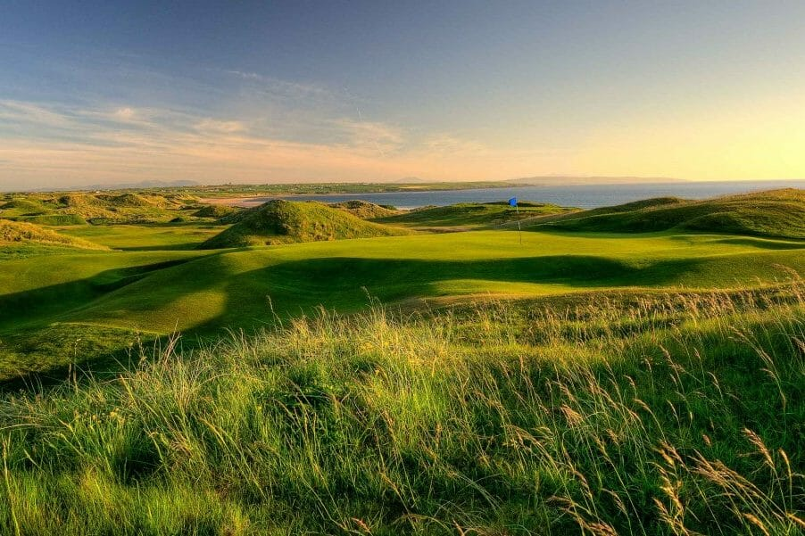 Image depicting the Old Course 2nd green at sunset at Ballybunion, County Kerry, Ireland