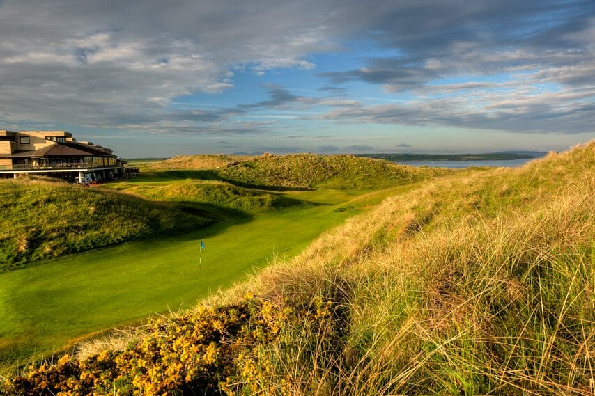 Image looking up the 18th green on the Old Golf Course at Ballybunion, County Kerry, Ireland