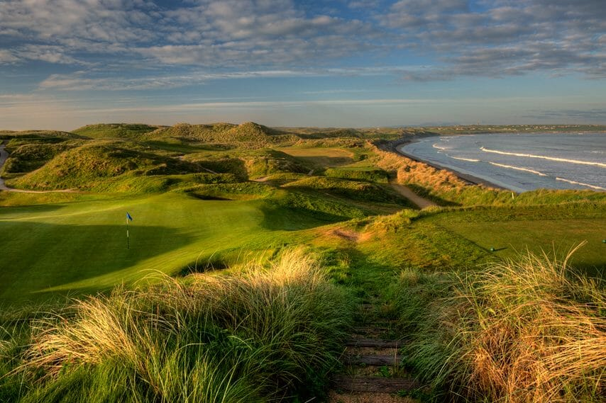 Image depicting the 16th tee overlooking the beach on the Old Golf Course at Ballybunion, County Kerry, Ireland