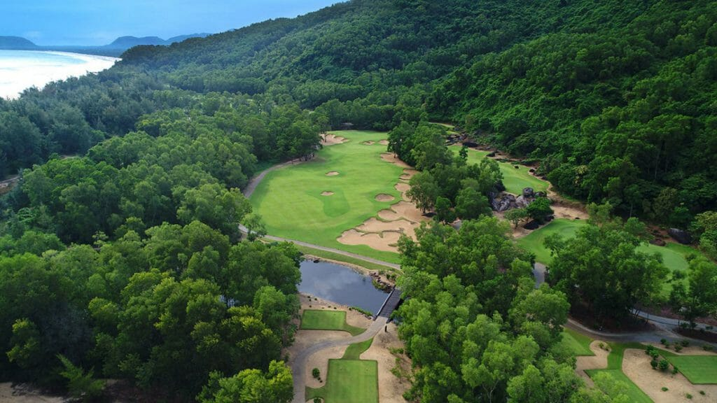 Aerial image of the par 5 signature hole at Laguna Lang Co