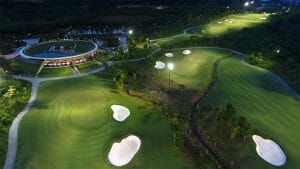 Aerial image of the practice facilities at night time, Ba Na Hills Golf Club, Da Nang, Vietnam