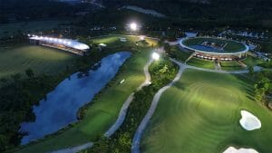 Image of the driving range, clubhouse and practice facilities at night time, Ba Na Hills Golf Club, Da Nang, Vietnam