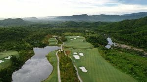 Aerial image of a lake and golf holes at Ba Na Hills Golf Club, Da Nang, Vietnam