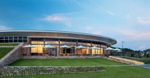 Image displaying the front of the round clubhouse at Ba Na Hills Golf Club, Da Nang, Vietnam